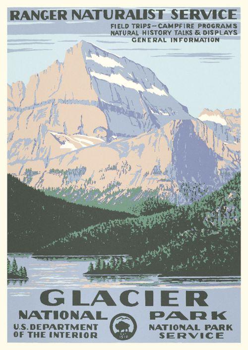Glacier National Park Vintage Poster Ranger Naturalist Service Series Discovernw Org