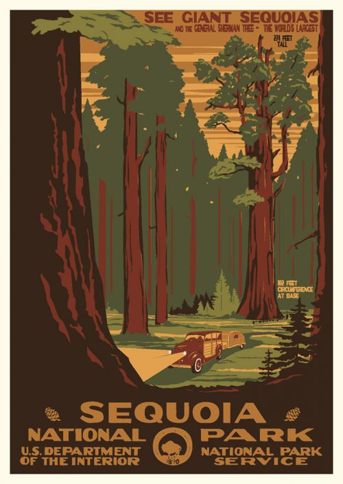 Sequoia Kings Canyon National Park Vintage Poster Discovernw Org