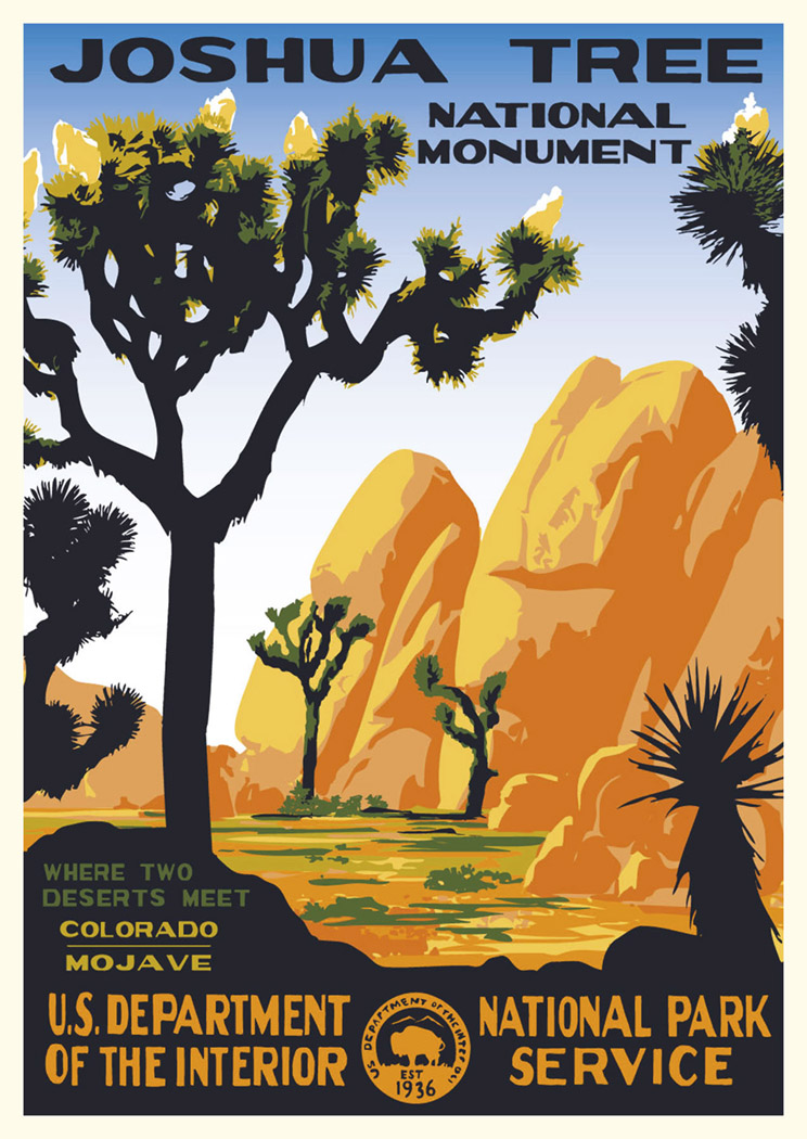 "Joshua Tree National Park Art Original Travel Poster 12x16/"" B76"